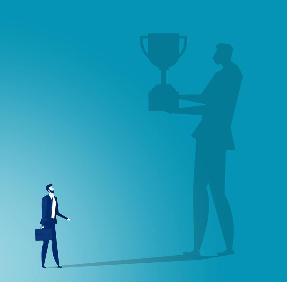 Business Man With Shadow Holding Trophy Vector
