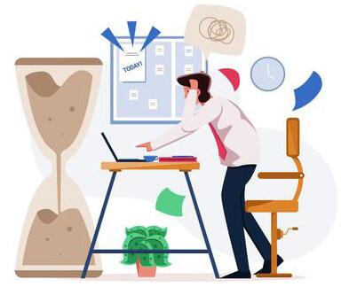 Businessman Working On Deadline Illustration Concept