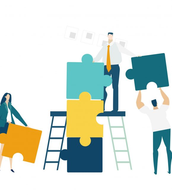 Group of young business people working together with puzzles as symbol of collaborating, solving problems, thinking about creative idea, brainstorming and teamwork concept. Flat style illustration.